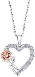 AFFY Corazón de Diamante Natural Blanco en Oro Rosa los 10 mejores collares de diamante