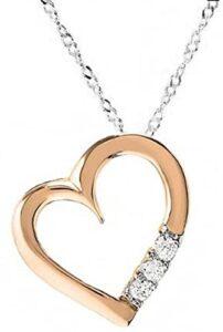 Dazzlingrock Collection Forma de Corazón de Diamantes Blancos los 10 mejores collares de oro para mujer