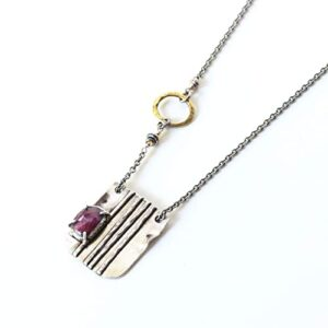 Jewelry Ruby Necklace Rectangle Silver Plate and Oval Brass