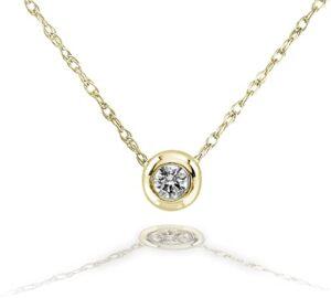 Kobelli Bisel Solitario de Diamantes Pequeños en Oro