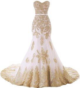 Lemai Sirena Largo Tulle de Oro con Fajas Los 10 mejores vestidos de boda