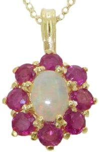 Womens Solid Yellow Gold Natural and Ruby Cluster Pendant Necklace